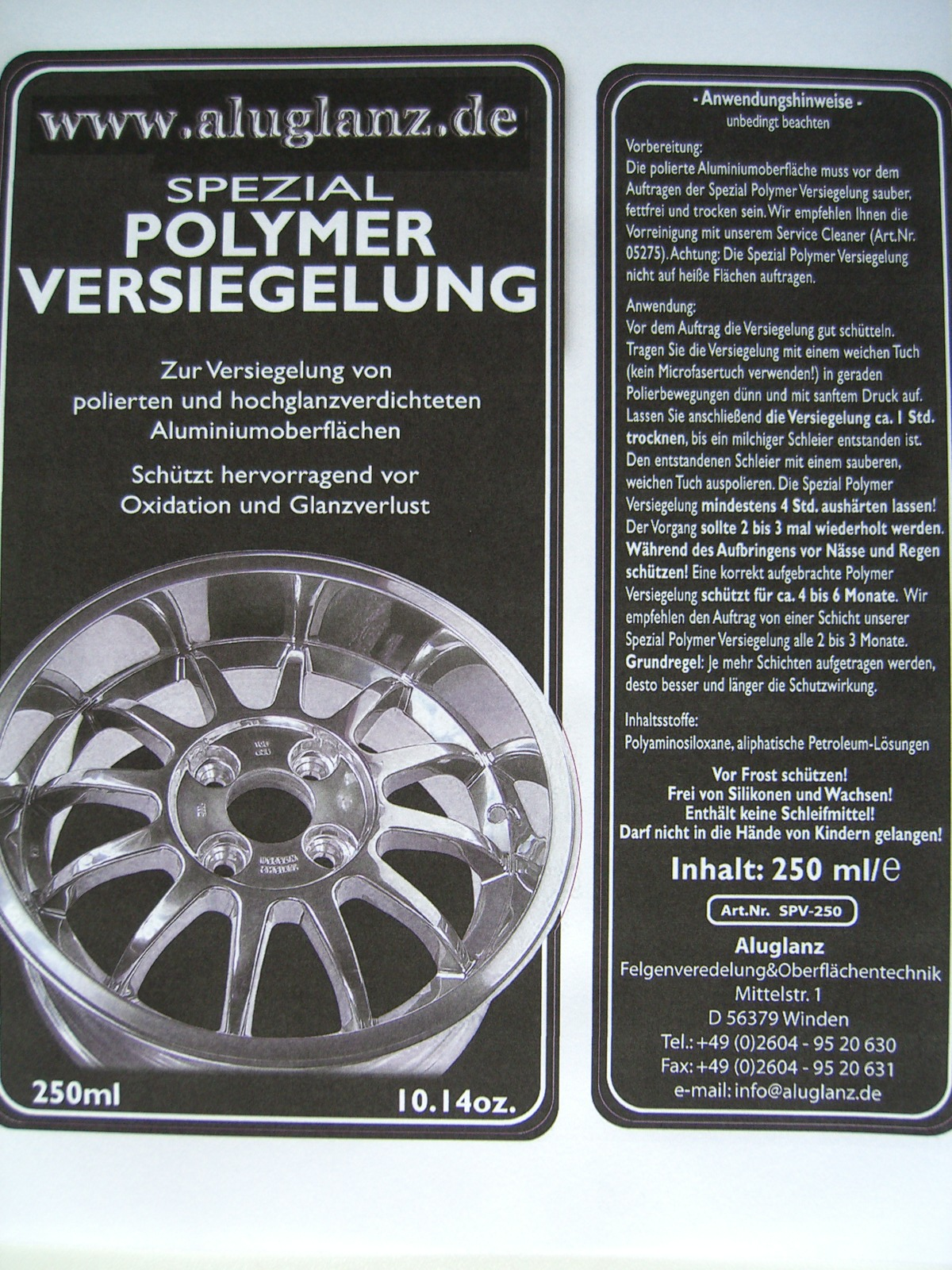 Spezial Polymer Versiegelung für Hochglanzverdichtete oder polierte Felgen
